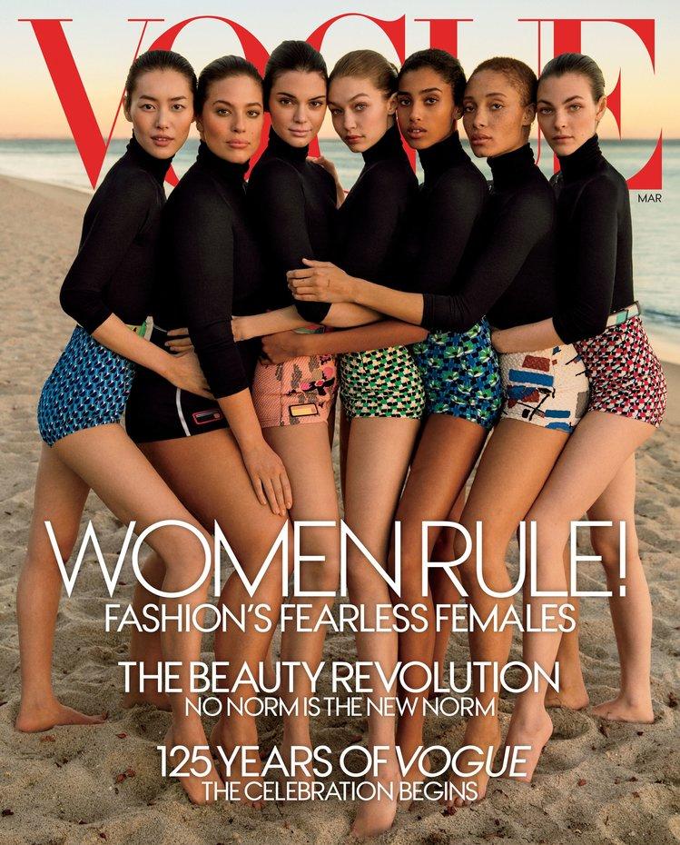 А здесь придрались к фотошопу (рука Джиджи неестественно длинная), Vogue US, март 2017