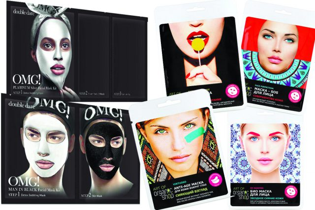 Double Dare OMG! Platinum и Man In Black, 690 р. и коллекция тканевых масок и патчей для глаз Art of Organic Shop, 119 р.