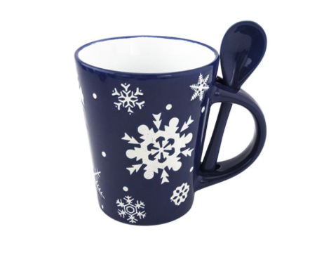 новогодняя чашка с ложкой, 50 рублей, Fix Price
