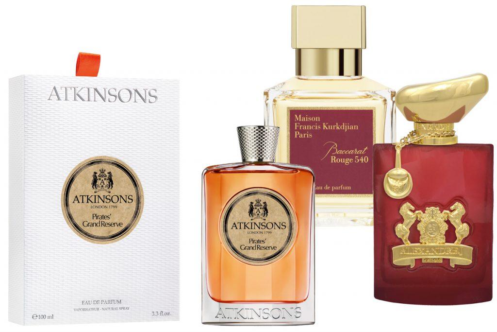 Аромат Pirates' Grand Reserve Atkinsons, цена по запросу; аромат Maison Francis Kurkdjian Baccarat Rouge, цена по запросу; аромат Alexandre J – Oscent Rouge, цена по запросу