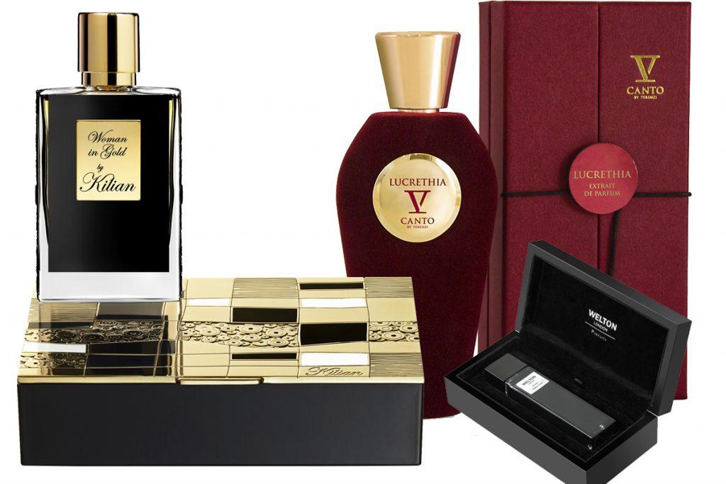 Аромат Woman in GoldBy Kilian, цена по запросу; аромат Stricnina из коллекции Red Collection бренда V Canto, цена по запросу; парфюмерная вода Eau de Parfum Welton london, цена по запросу