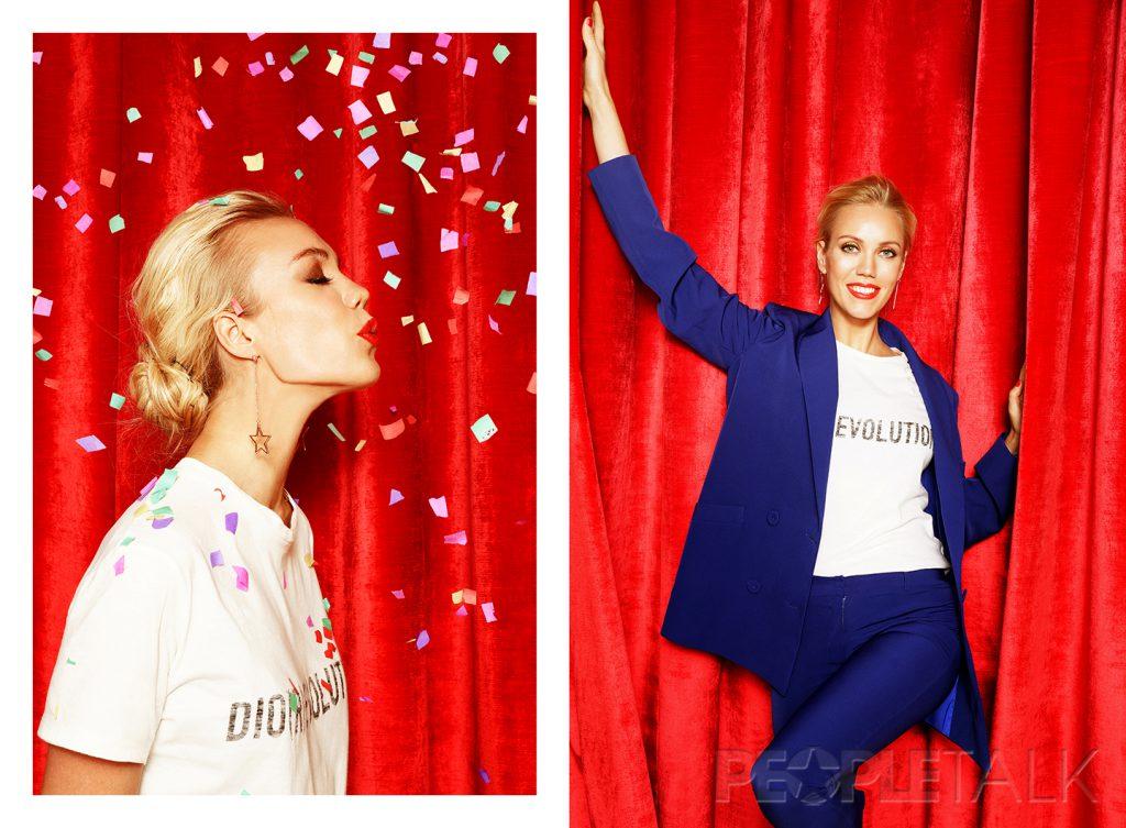 Футболка Dior; брючный костюм Girlpower