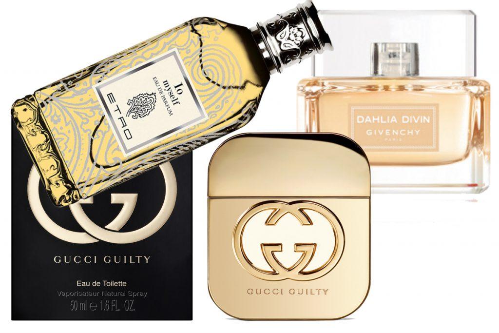 Аромат Etro - Io Myself, от 7500 р.; туалтеная вода Gucci Guilty Intense, 4460 р.; парфюмерная вода Givenchy Dahlia Divin, 3100 р.