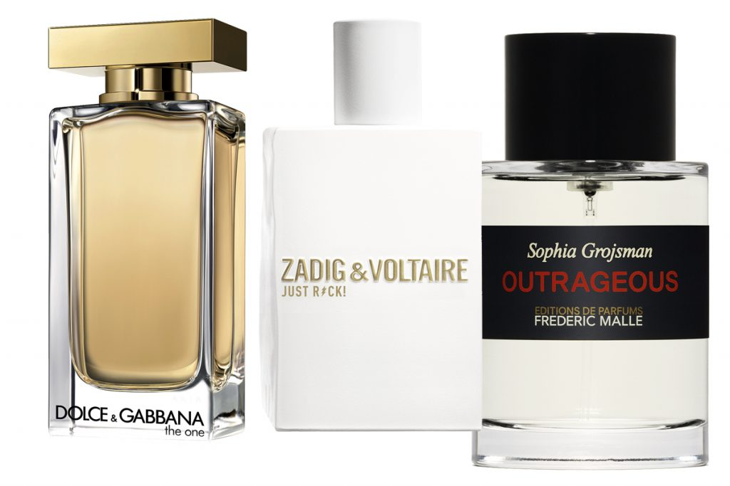 Туалетная вода The One EDT, Dolce&Gabbana, 100 мл, 8600 р.; парфюмерная вода для нее ZADIG&VOLTAIRE Just Rock Pour Elle 30 мл., 3800 р.; аромат Outrageous Frederic Malle, 100 мл., 18 700 р.