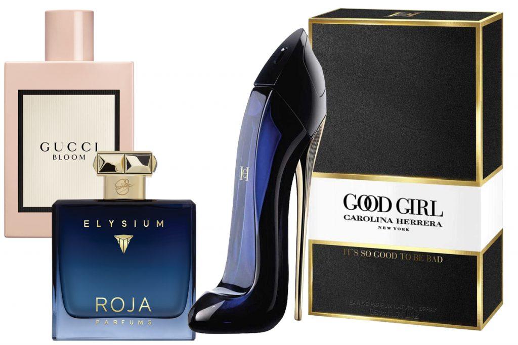 Аромат Gucci Bloom, 4470 р.; парфюмерная вода ROJA – ELYSIUM, 100 мл, 21600 р.; аромат Carolina Herrera Good Girl, цена по запросу