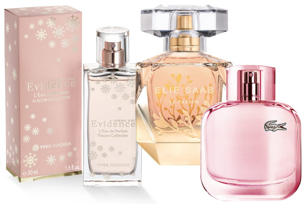 Парфюмерная вода «Как Явность» коллекционное издание Yves Roche, 50 мл, 2500 р.; парфюмерная вода Le Parfum Feuilles d'Or ELIE SAAB, 50 мл, 6550 р.; аромат Lacoste L.12.12 Pour Elle Sparkling, 4170 р.