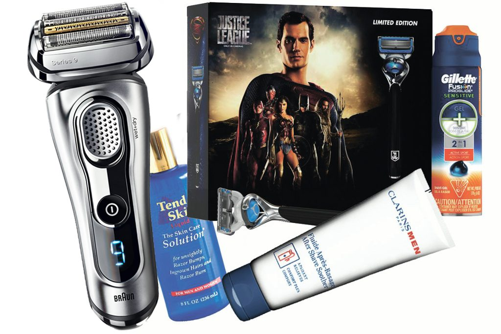 Бритва Braun Series 9, цена по запросу; лосьон после бритья Tend Skin, 1500 р.; набор Gillette Fusion Proshield Chill Лига справедливости, цена по запросу; флюид после бритья, Clarins, цена по запросу