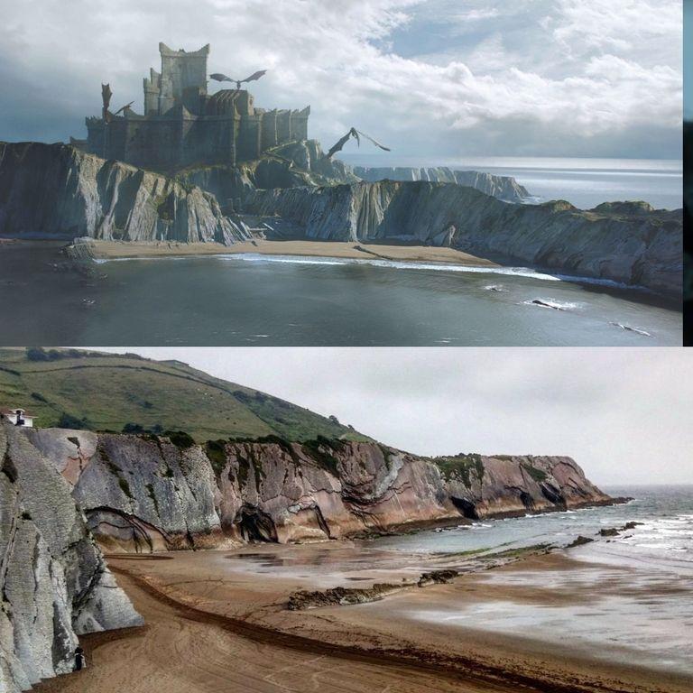 Сцену из первой серии седьмого сезона снимали в Испании, на пляже Итзурун