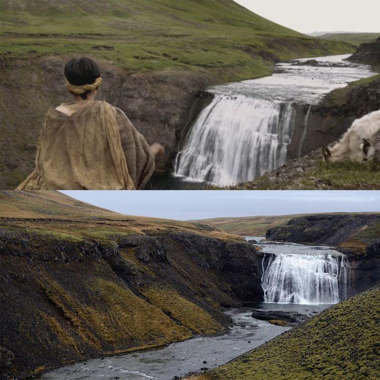 Водопад Thorufoss в Исландии. Там дракон Дейенерис Дрогон нападает на козлов