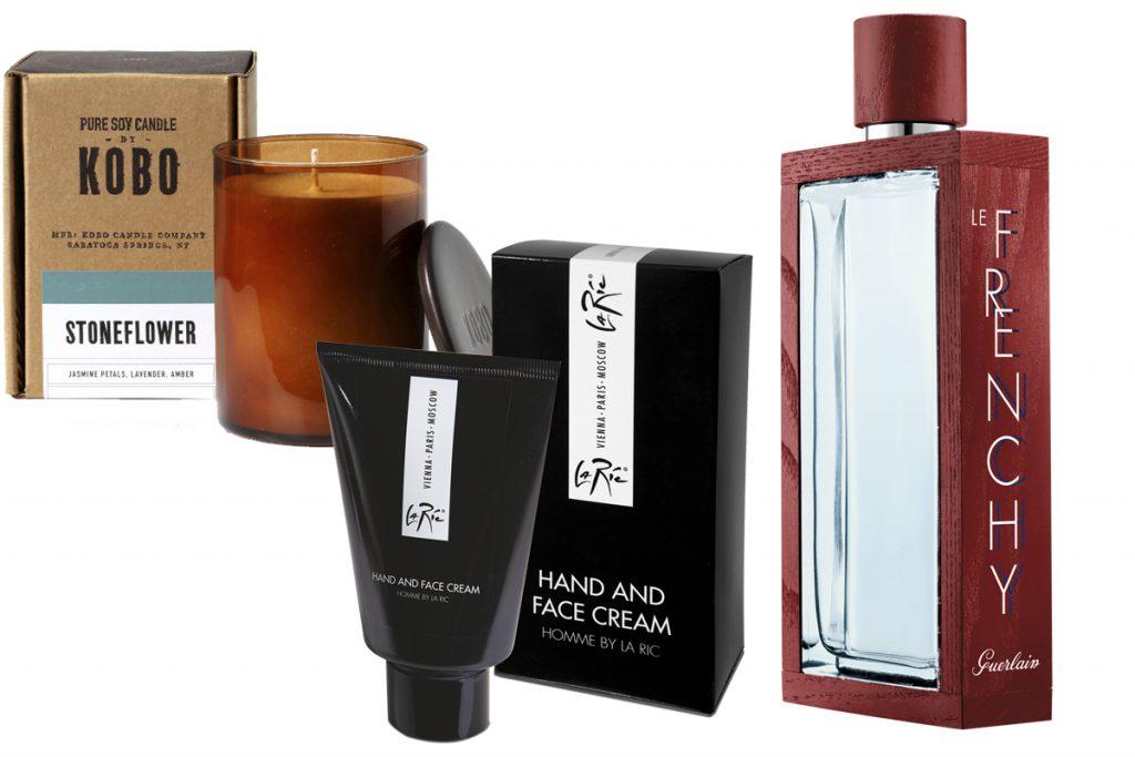 Свеча Stoneflower, Kobo, цена по запросу; крем для рук и лица HOMME by La Ric, 4410 р.; аромат Le Frenchy, Guerlain, цена по запросу