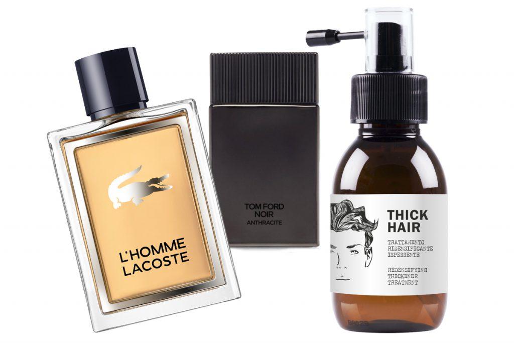 Мужской аромат L'HOMME LACOSTE, цена по запросу; аромат TOM FORD Signature – Noir Anthracite, цена по запросу; уплотняющий шампунь для волос Dear Beard, цена по запросу