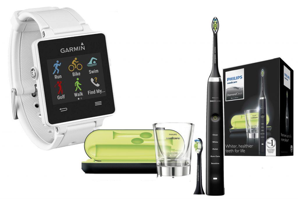 Часы GARMIN, цена по запросу; электрическая зубная щетка Philips Sonicare 2 Series HX6232/20,  от 12 500 р.