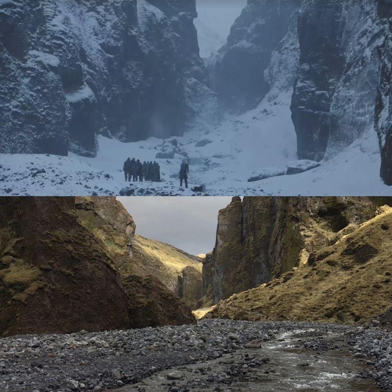 Битва 7 сезона снималась около каньона реки Stakkholtsgja в Исландии