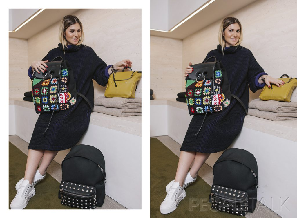 На Лауре: платье, Issey Miyake; рюкзак, J. W. Anderson; кроссовки, Alexander McQueen; рядом: рюкзак, Marni; рюкзак, Saint Laurent