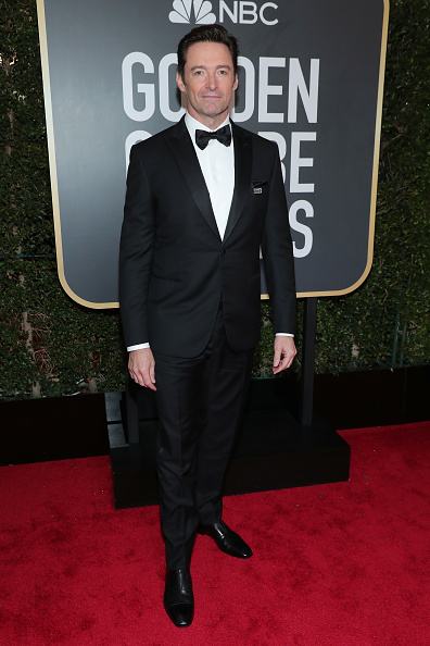 BEVERLY HILLS, CA - JANUARY 07:  75th ANNUAL GOLDEN GLOBE AWARDS -- Pictured: Actor Hugh Jackman arrives to the 75th Annual Golden Globe Awards held at the Beverly Hilton Hotel on January 7, 2018.  (Photo by Neilson Barnard/NBCUniversal/NBCU Photo Bank via Getty Images)