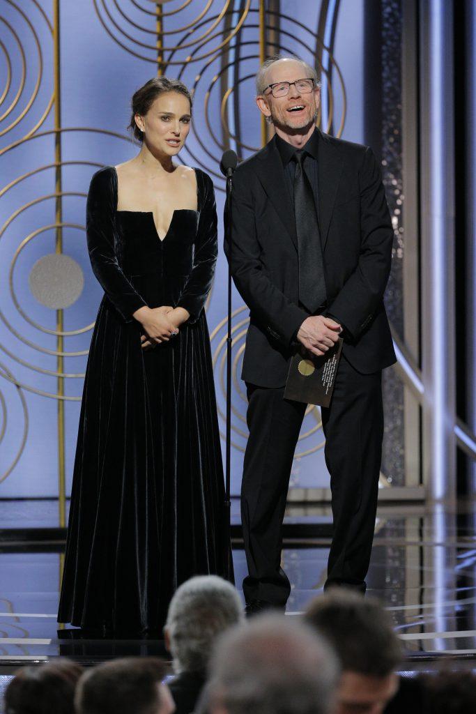 Натали Портман и Рон Ховард на премии «Золотой глобус»