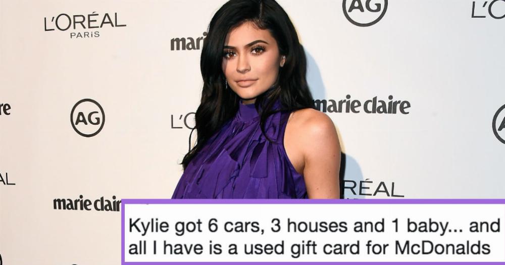 У Кайли 6 машин, 3 дома, 1 ребенок... А у меня только использованная подарочная карта McDonalds
