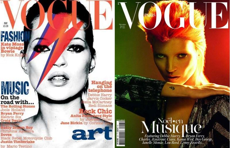 Кейт Мосс в образе Дэвида Боуи на обложках Vogue