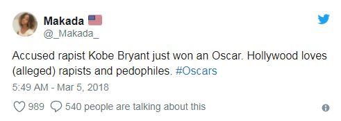 Обвиняемый в изнасиловании Коби Брайант только что выиграл «Оскар». Голливуд любит предполагаемых насильников и педофилов