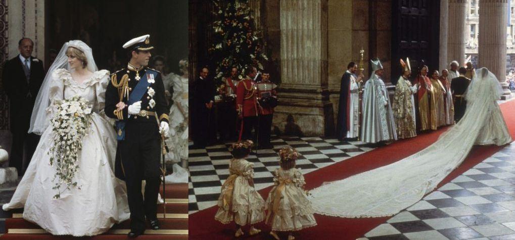 Для свадьбы с принцем Чарльзом 29 июля 1981 года принцесса Диана выбрала платье стоимостью около 150 000 долларов (около 9 млн. рублей). Платье было с 25-метровым шлейфом, а детали вышиты вручную