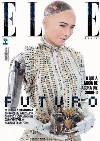 Робот София на обложке декабрьского номера ELLE