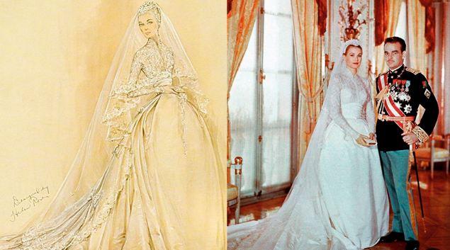 Этот наряд принцессе Грейс подарила студия Metro-Goldwyn-Mayer, придумала же его художница по костюмам и обладательница премии «Оскар» Хелен Роуз. Стоимость платья оценивается в 300 000 долларов (около 18 млн. рублей)
