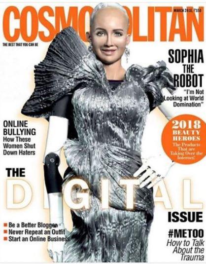 Робот София на обложке мартовского номера Cosmopolitan