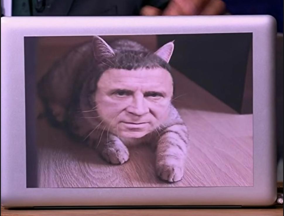 Фотоколлаж Кашпировского с котом в первом эфире