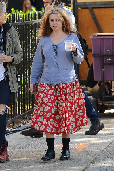 елена Бонэм Картер на съемках фильма «8 подруг Оушена» в Нью-Йорке, 2016 год