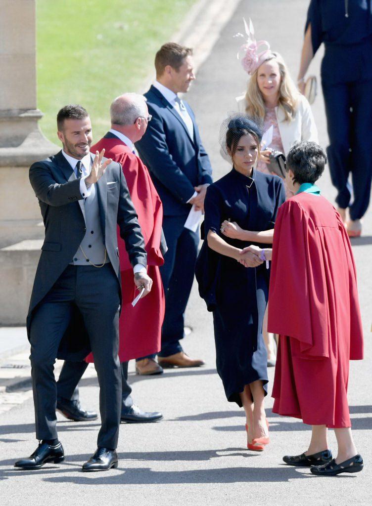 Дэвид и Виктория Бекхэм на свадьбе принца Гарри и Меган Маркл, 2018