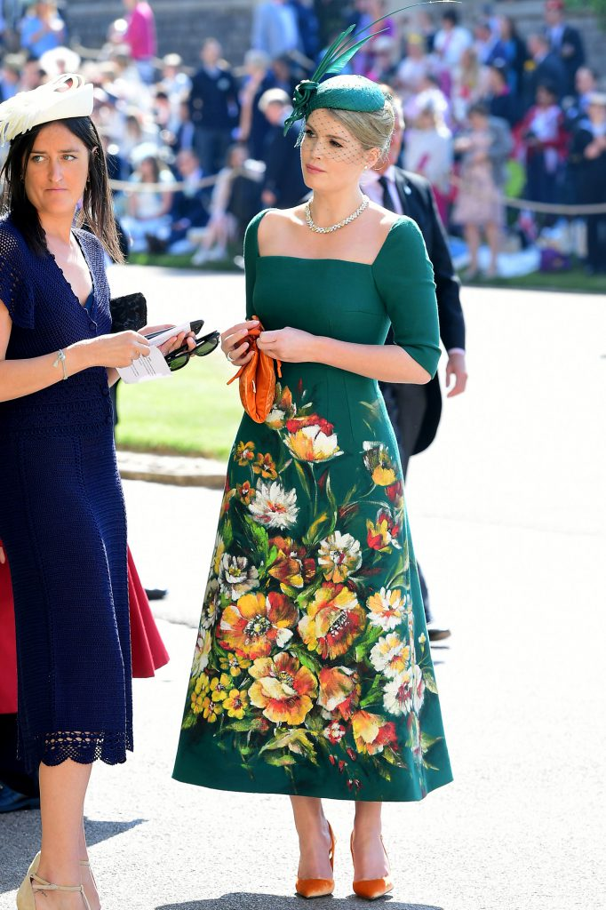 Kitty Spencer (R) arrives for the wedding ceremony of Britain's Prince Harry, Duke of Sussex and US actress Meghan Markle at St George's Chapel, Windsor Castle, in Windsor, on May 19, 2018. (Photo by Ian West / POOL / AFP)        (Photo credit should read IAN WEST/AFP/Getty Images)