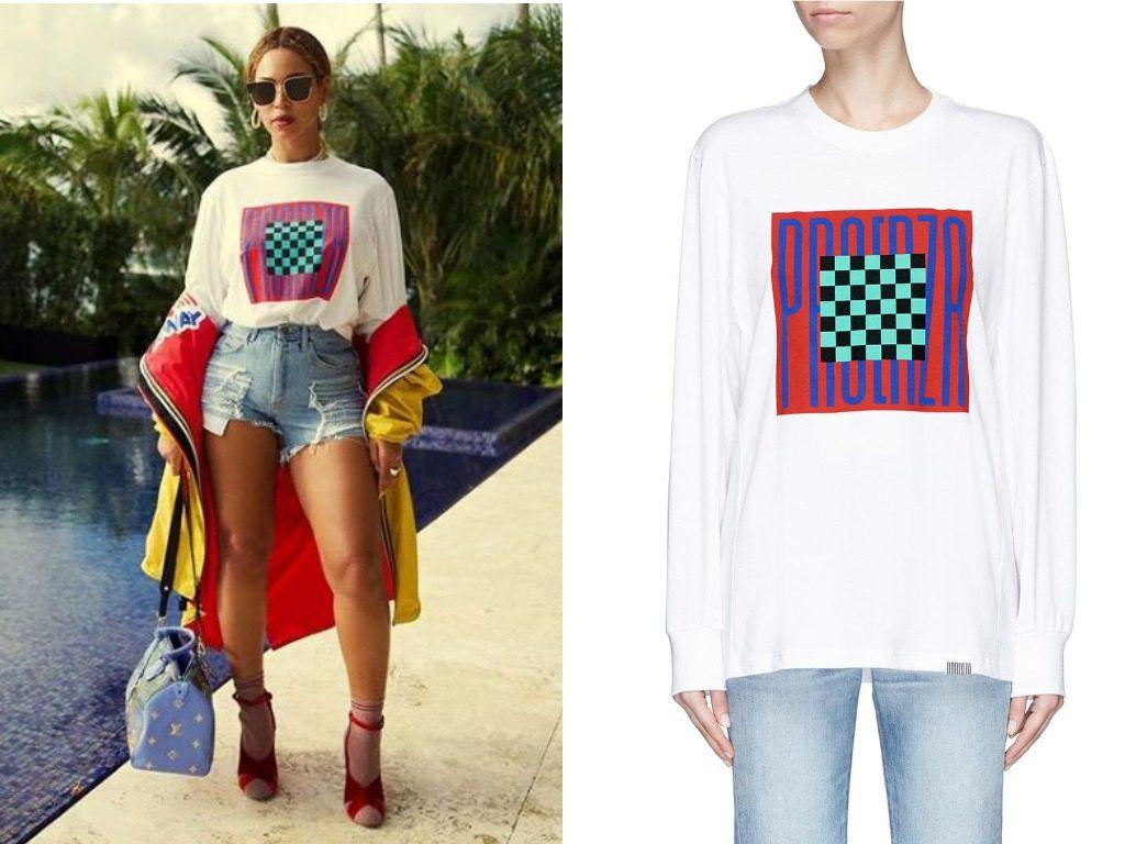 Бейонсе. Футболка, Proenza Schouler PSWL Graphic Long Sleeve T-Shirt (235$ - ок. 14400 руб.)