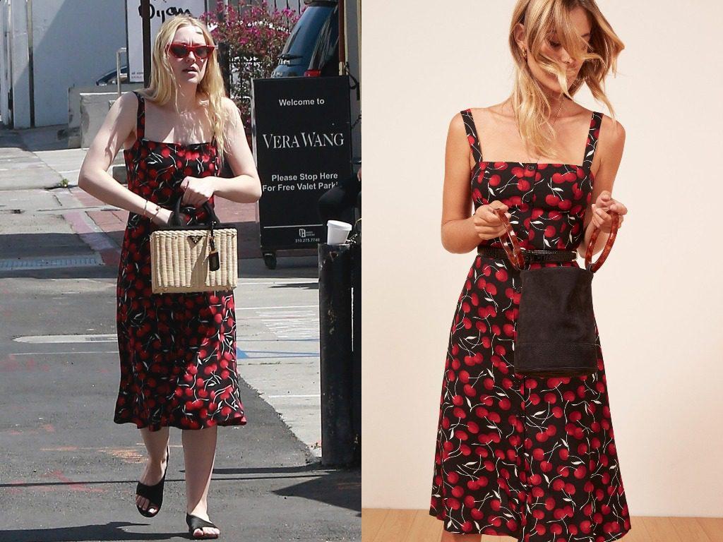Дакота Фаннинг. Платье, Reformation Persimmon Dress (198$ - ок. 12100 руб.)
