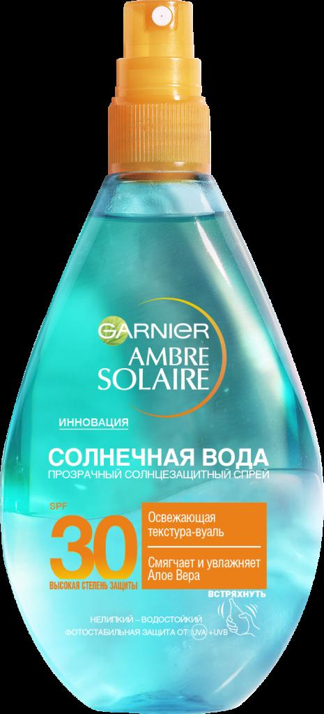 Солнечная вода SPF 30 Garnier защищает кожу от солнечных ожогов и фотостарения. От 760 р.