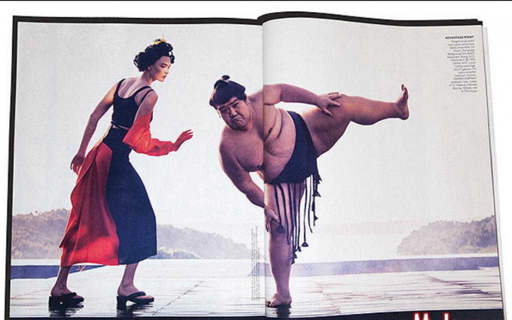 Карли Клосс в костюме гейши для Vogue