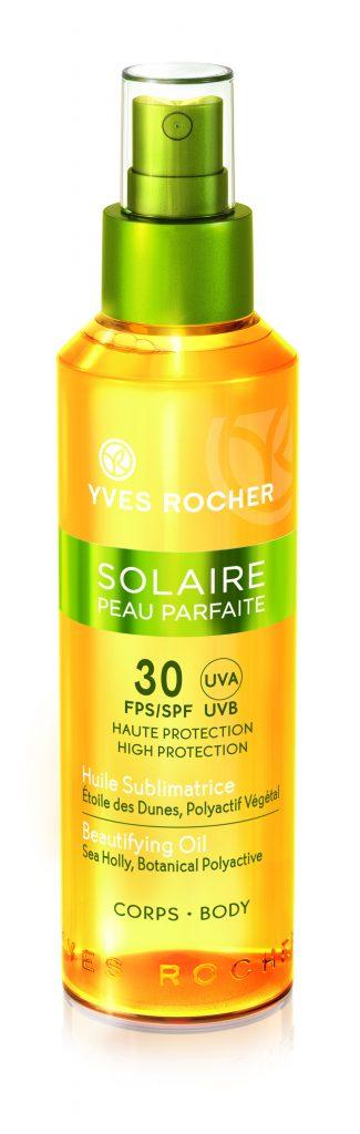 Солнцезащитное атласное масло для тела SPF 30 Yves Rocher - для тех, кто любит много загорать. 1190 р.