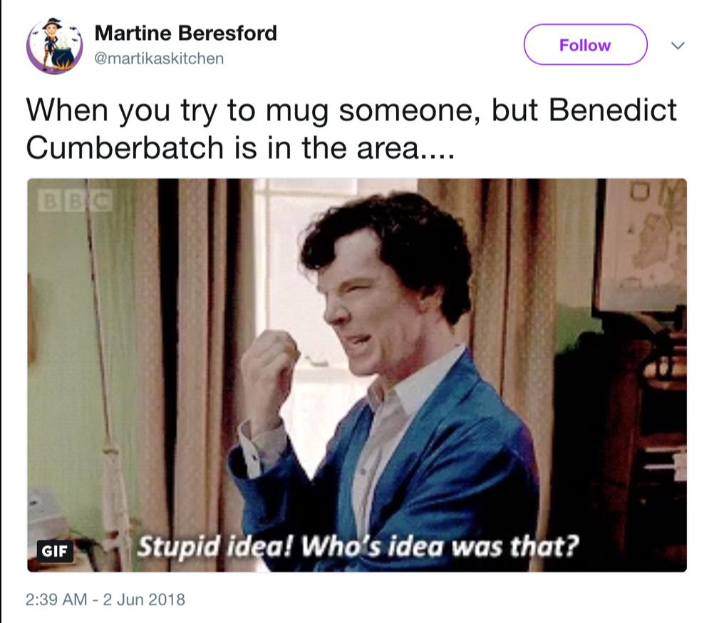 Когда пытаешься ограбить кого-то, но Бенедикт оказался рядом