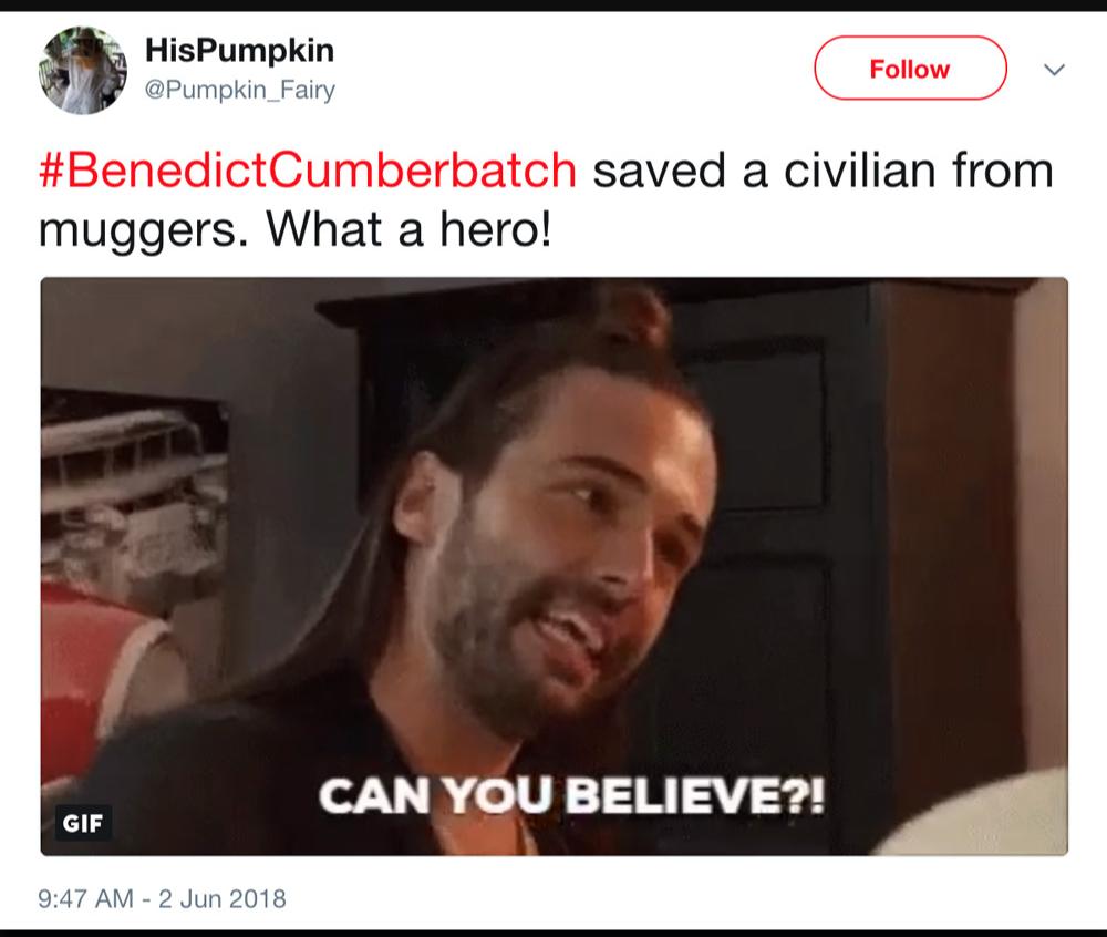 Бенедикт спас мирных от злодеев. Он мой герой!
