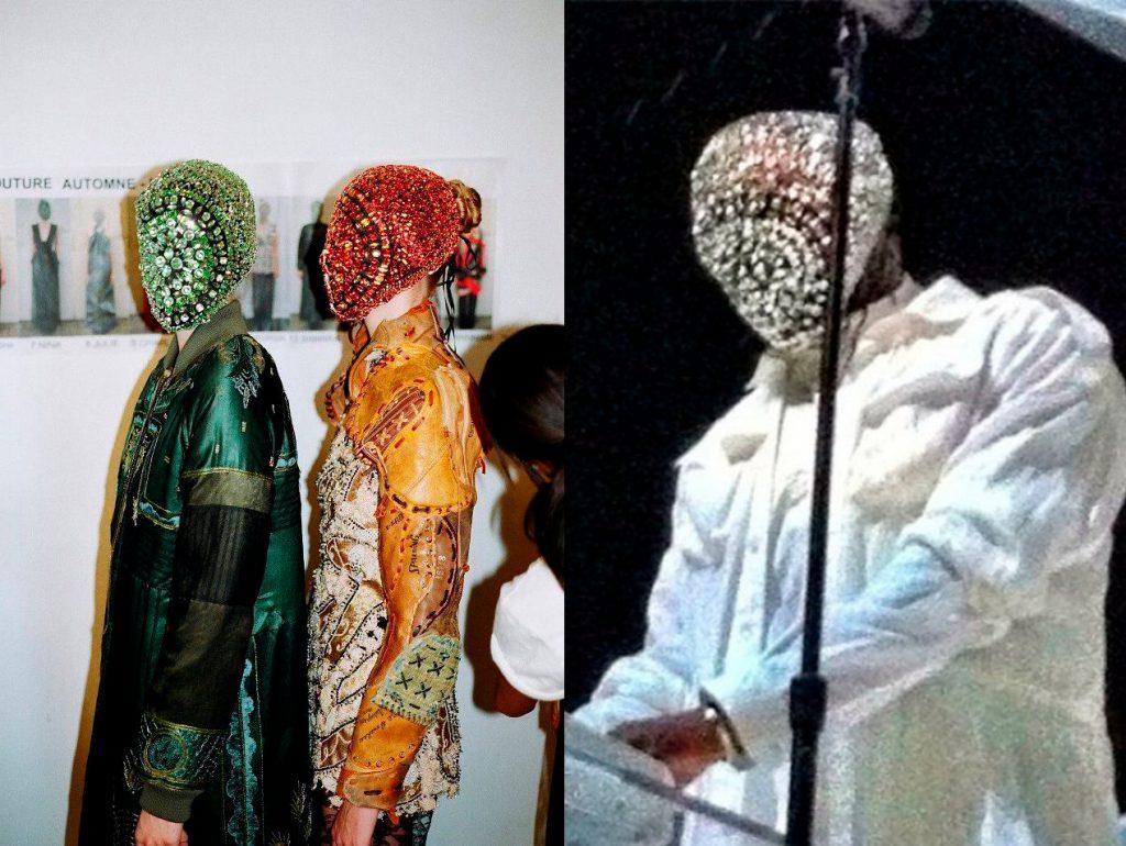 На показе Maison Margiela осень-зима – 2012 модели вышли на подиум в масках, усыпанных драгоценными камнями. В такой же потом выступал Канье Уэст на одном из своих концертов.