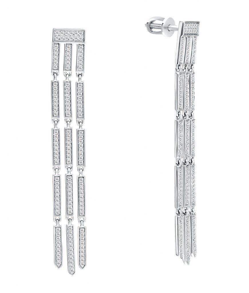Золотые серьги с бриллиантами Fashion Diamonds, SUNLIGHT (арт.: 68909)