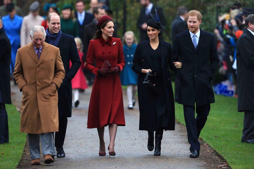 Принц Уильям, Кейт Миддлтон, Меган Маркл и принц Гарри в декабре 2018
