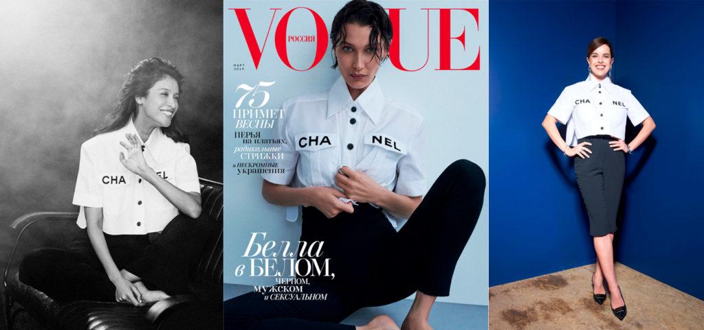 Еще одна it-рубашка — Chanel. В такой мы снимали Равшану Куркову, а российский Vogue — Беллу Хадид. Юлия Шарапова пришла в таком на ужин Breitling. Носи ее с бермудами — самыми модными шортами сезона.