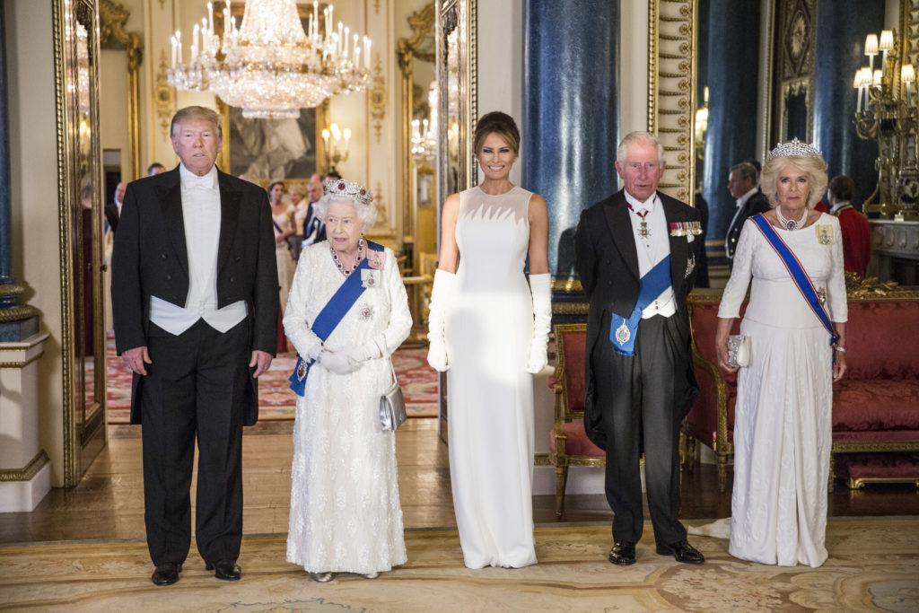 Дональд Трамп, Елизавета II, Мелания Трамп, принц Чарльз и Камилла Паркер-Боулз