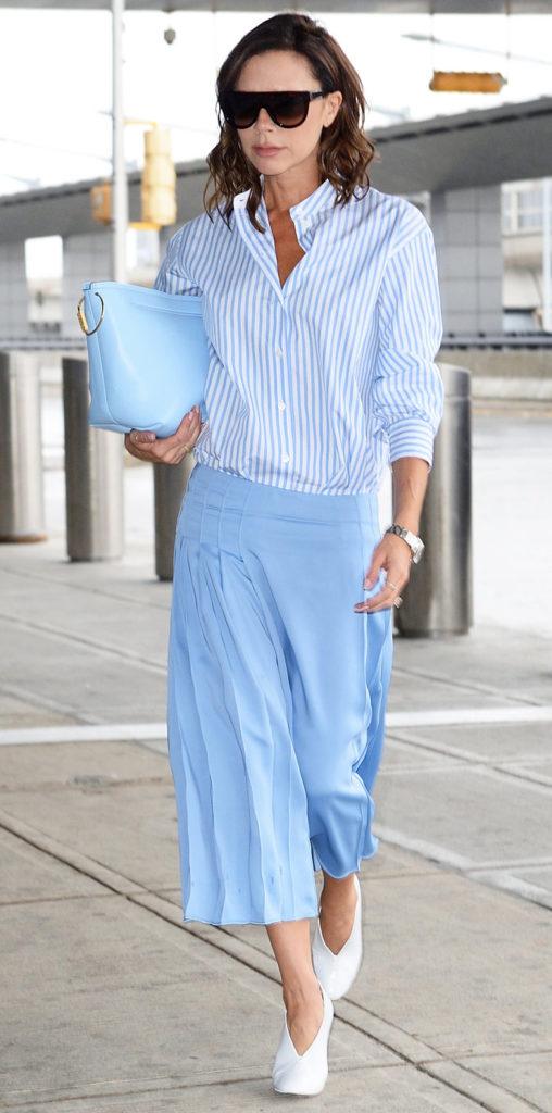 Вики Бекхэм действительно обожает этот цвет. Хороший пример - разные оттенки голубого. Все вместе смотрятся очень стильно