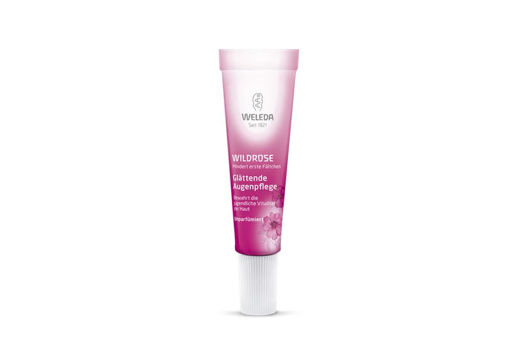 Розовый разглаживающий крем для контура глаз Weleda насыщает клетки живительной влагой и предотвращает обезвоживание