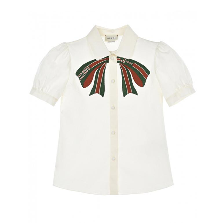 GUCCI, Белая рубашка с рукавами-фонариками (21 999 р.)
