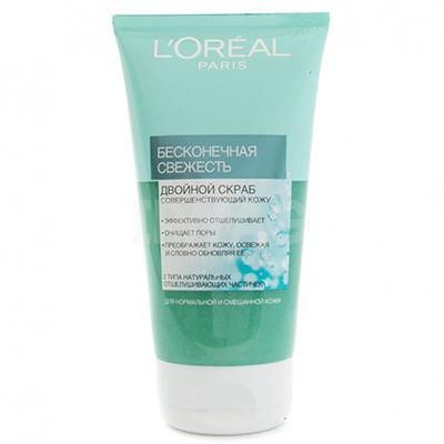Двойной скраб для лица L'Oreal, 230 р. Гелевая консистенция приятно охлаждает кожу и эффективно отшелушивает.