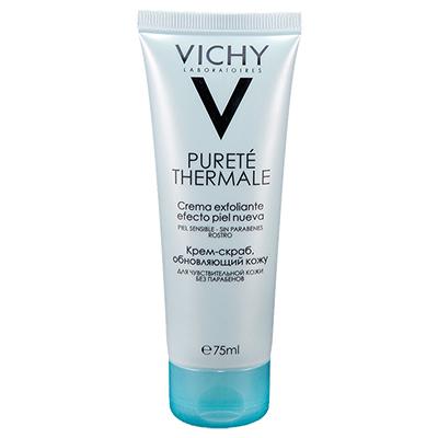 Обновляющий крем-скраб Vichy, 1100 р. Выводит токсины и активизирует процесс регенерации клеток. Подходит для чувствительной кожи, выравнивает цвет лица и делает кожу сияющей.