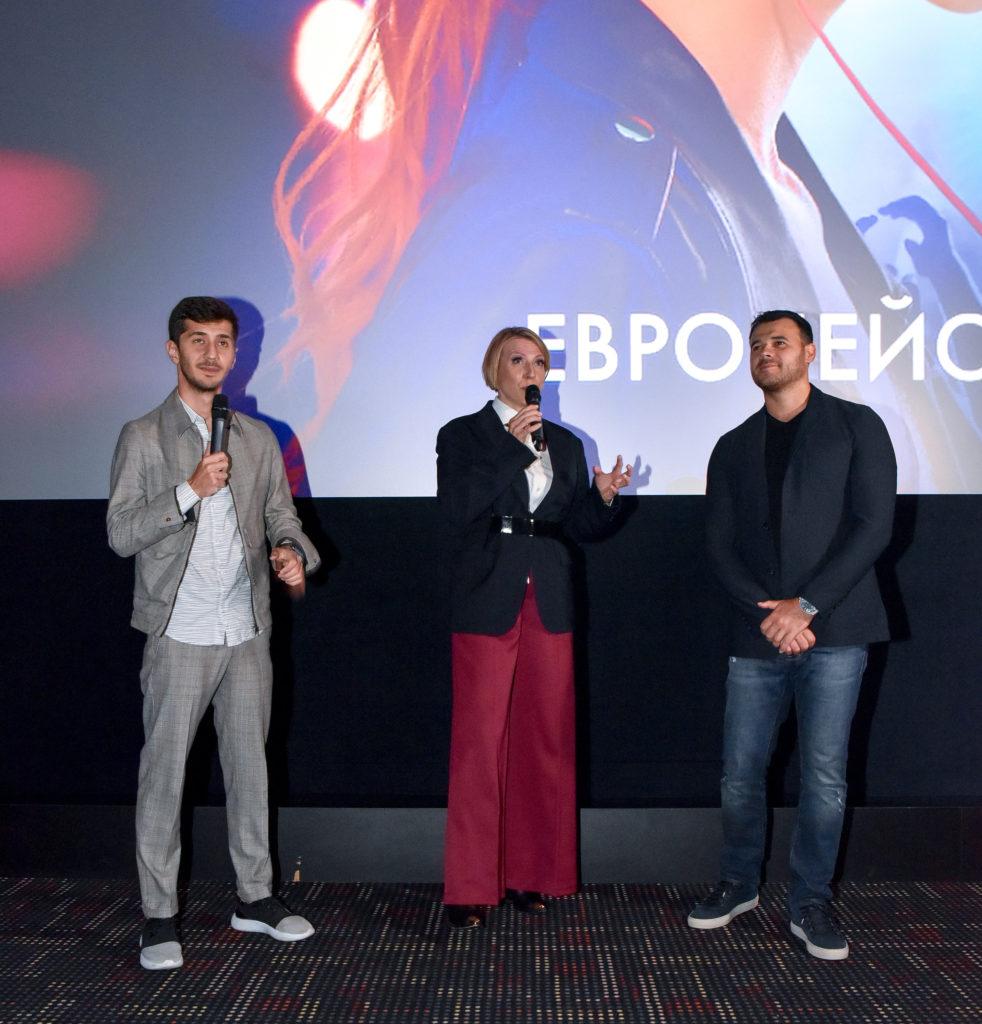 Эмин Агаларов, Яна Чурикова и Магомед Муртазаалиев на премьере фильма «Жара» в Германии