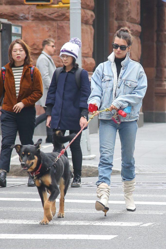 А не многовато ли одежды? Эмили Ратаковски на прогулке с собакой
